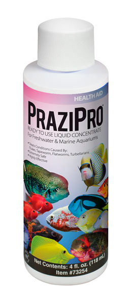 AQUARIUM SOLUTIONS & POND SOLUTIONS PraziPro Health Aid The World's First Ready-To-Use, Liquid Concentrate Praziquantel Treatment!
